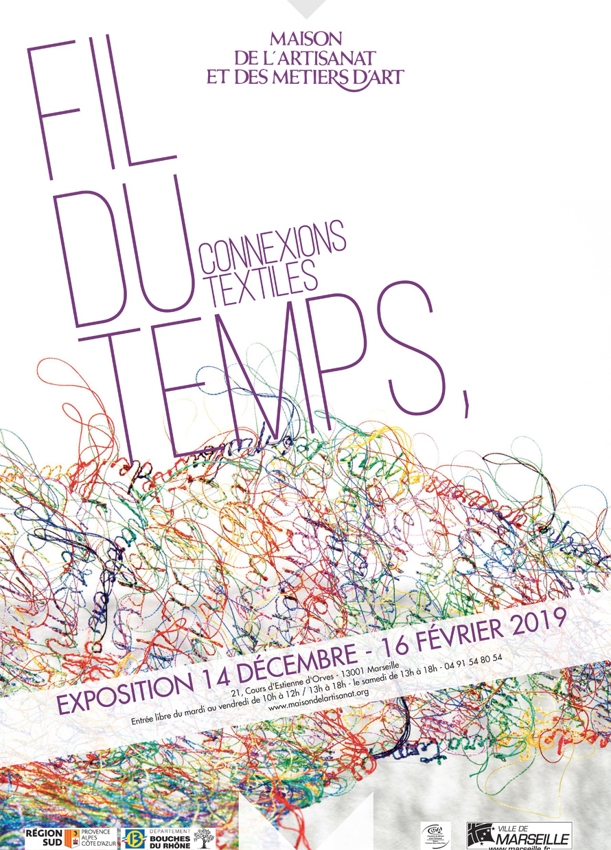 "Poster of the exhibition ""Thread of time, textile connections"""